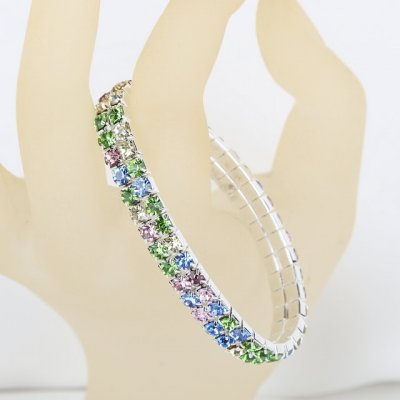 Bijoux de Mariage  - Bracelet Extensible Strass Multicolor 2 Rangs : illustration