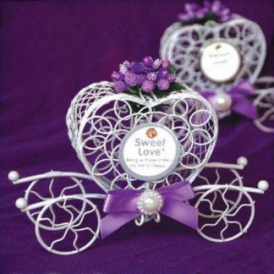 carrosse violet bote drages mtal lot de 5 accessoires de mariage - Boite Dragee Mariage