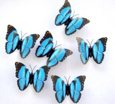 Papillon bleu d coration mariage lot de 12 un jour sp cial for Papillon de decoration