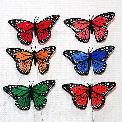 Papillon multicolore sur tige 20 cm d coration mariage lot de 12 un jour sp cial - Papillon sur tige ...