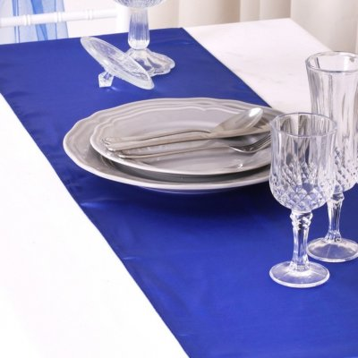 5 Chemins de Table Mariage Satin Bleu Royal
