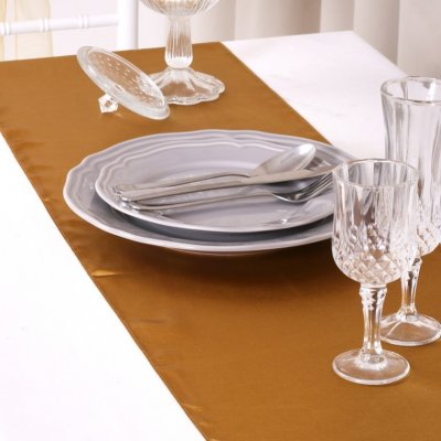 Chemin de Table Mariage Satin Or (Lot de 5)