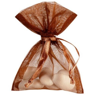 Boite de Dragées  - Sachet à Dragées Organdi Chocolat (lot de 10) : illustration