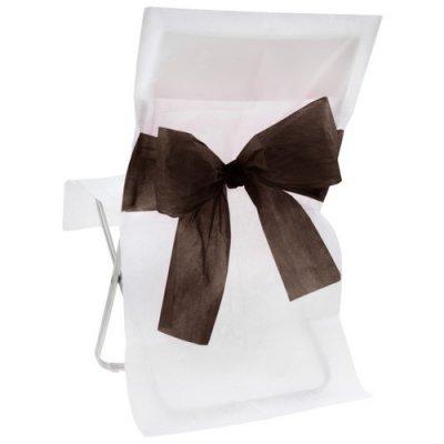 Housse de chaise intiss mariage pas cher blanche avec noeud noir un jour sp cial - Housse de chaise noir pas cher ...
