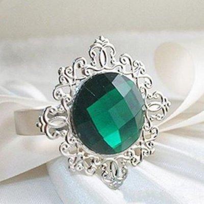 Rond de serviette mariage bague diamant vert par 10 pas cher un jour sp cial - Serviette de table pas cher ...