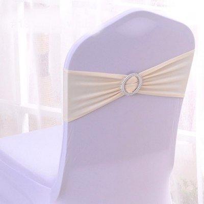 Noeud De Chaise Mariage En Lycra Beige Ivoire