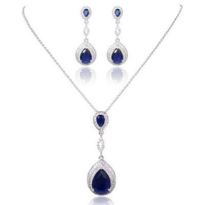 Parure Bijoux Mariage Plaqué Argent Zirconium Bleu Saphir a57f1ec1bfeb