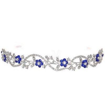 Bijoux de Mariage , Diadème Mariage Serre,tête Cristal Clair / Bleu Roi   illustration