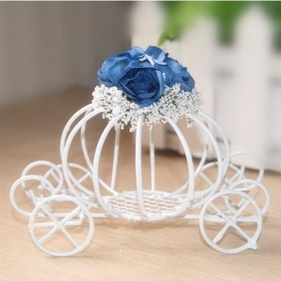 Centre de table bo te a dragees carrosse m tal fleur bleu - Lit en forme de carrosse ...