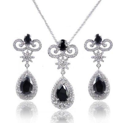 Parure bijoux mariage zirconium noir
