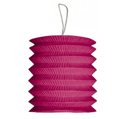 Decoration Mariage  - Lampion cylindrique 15 cm en papier ignifugé fuchsia : illustration