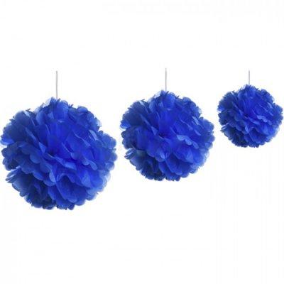 3 fleurs de papier de soie assorties 20 30 45 cm bleu marine. Black Bedroom Furniture Sets. Home Design Ideas
