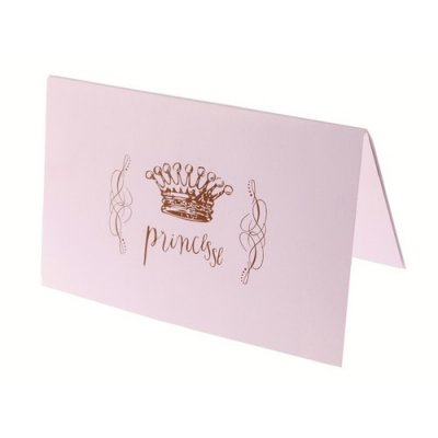 6 cartes d'invitation anniversaire Princesse, rose pastel