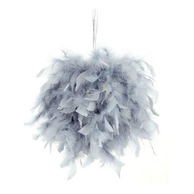 boule plumes grise 20 cm pas cher suspension boule mariage. Black Bedroom Furniture Sets. Home Design Ideas