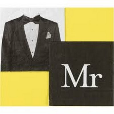 Serviettes en papier Mr (Monsieur) motif costume d'homme |  Thème Mr & Mrs