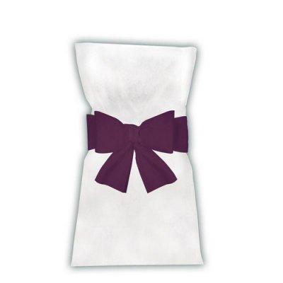 noeuds de chaise prune en intiss d co de salle n ud de chaise mariage violet. Black Bedroom Furniture Sets. Home Design Ideas
