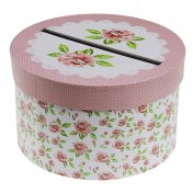 Urne Tirelire mariage fleurie liberty ronde