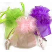 Sac dragees, mariage sachet dragees collerettes plumes (lot de 10)