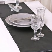 Chemin de Table Mariage Satin Noir (Lot de 5)