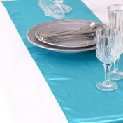 Chemin de Table Mariage Satin Bleu Aqua (Lot de 5)