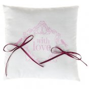 "Coussin pour Alliances Vintage "" With Love"" Rose"