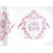 "Chemin de table Vintage ""With Love"" rose"