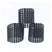 Attache serviette et noeud de chaise strass noir x 10